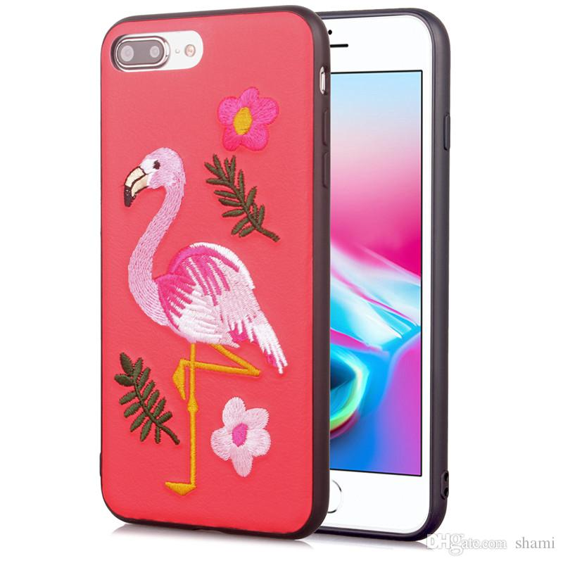 goophone s8 plus case embroidery pattern animal flower fundas for oppo r11 plus r11s plus cover tpu leather wolf head bear Flamingo case