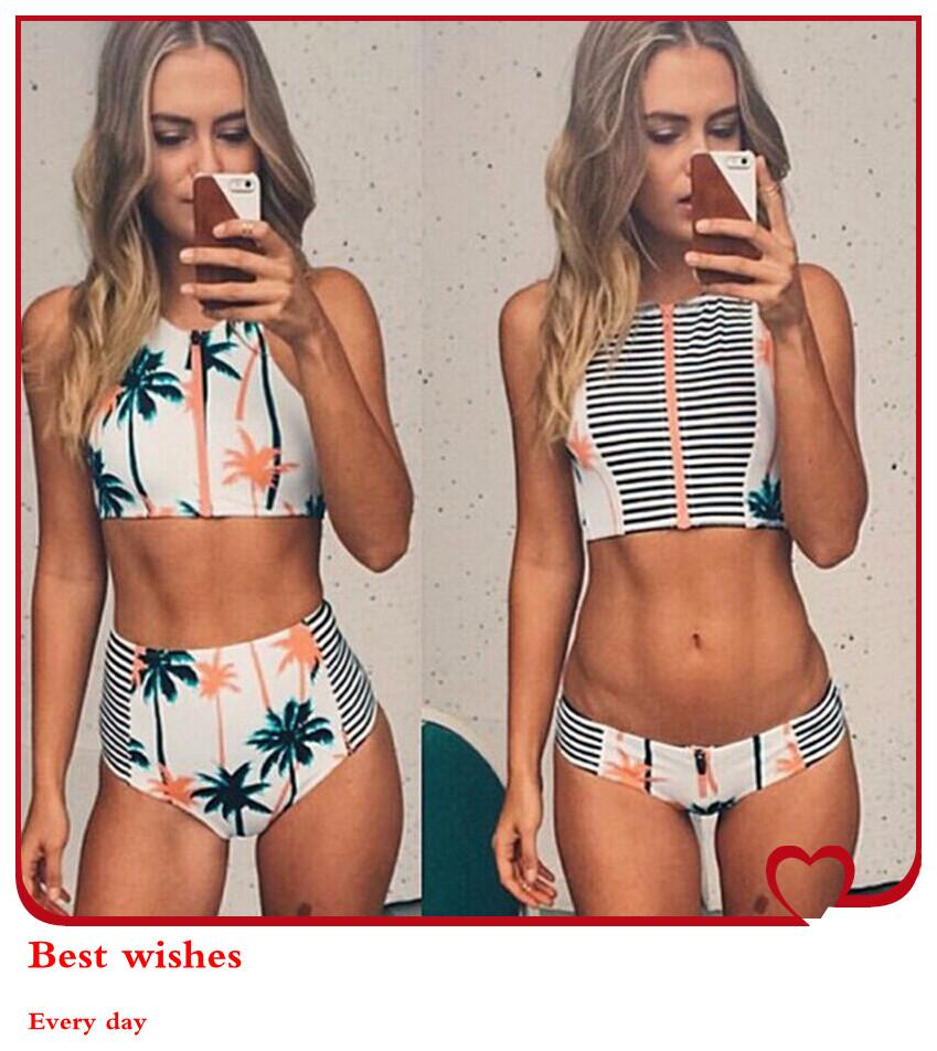Retro Style Bathing Suits Part - 40: 2017 Summer Style Bathing Suit Retro High Neck Patchwork Tank Zipper Crop  Top Bikini Brazilian High Waist Printing Swimsuit 2015 Women Swimwear From  ...