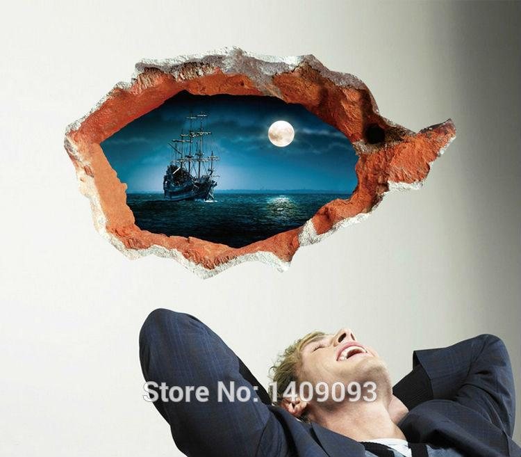 Extra Large Sticker 3d Wall Decals Vinyl Pirate Ship Night Sea Mural ...