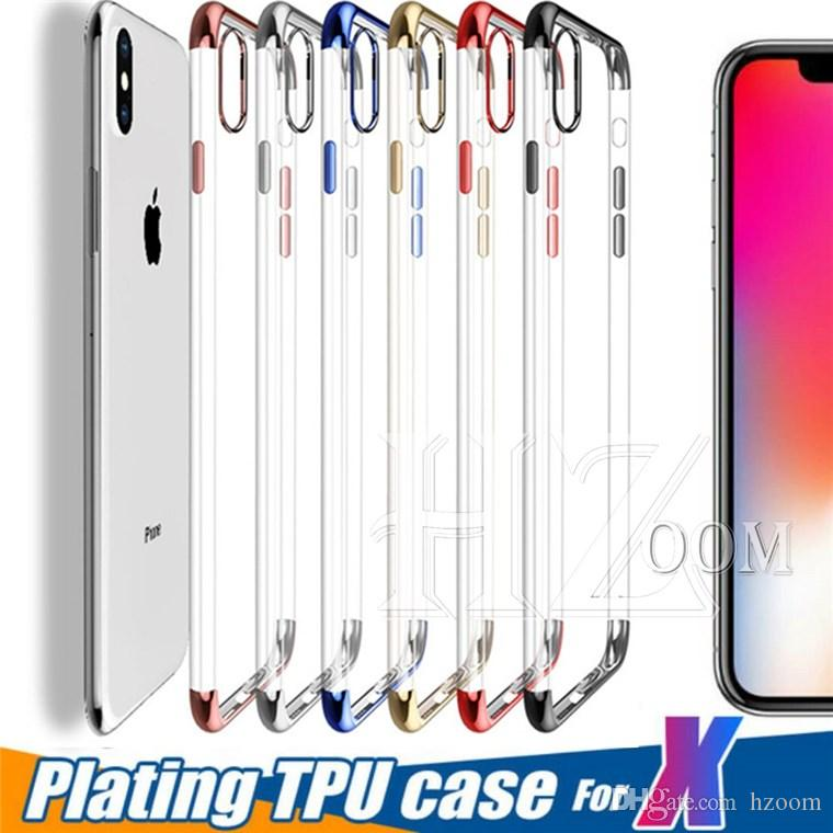 promo code eca05 b2c3a TPU Plating Soft Case For Iphone X 10 8 7 6 Samsung Galaxy S8 Plus Ultra  thin Silicone Clear Back Cover Shockproof Slim Plating Electroplate