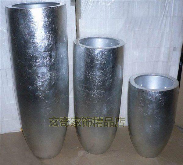 Luxury Silver Floor Vases Decoration Artificial Flowers Dried - Cylinder floor vase silver