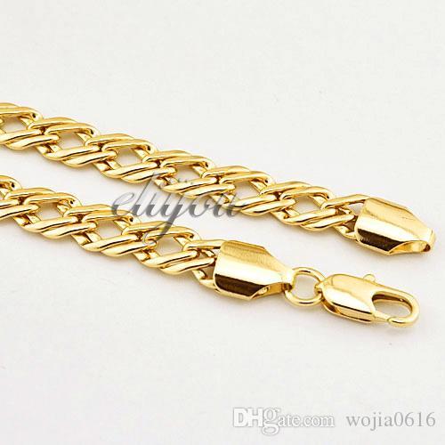 Nueva Joyería de Moda Para Mujer Para Mujer 7mm 18K Collar Lleno de Oro Amarillo Curb Cuban Link Chain Joyería de Oro Envío Gratis C03 YN