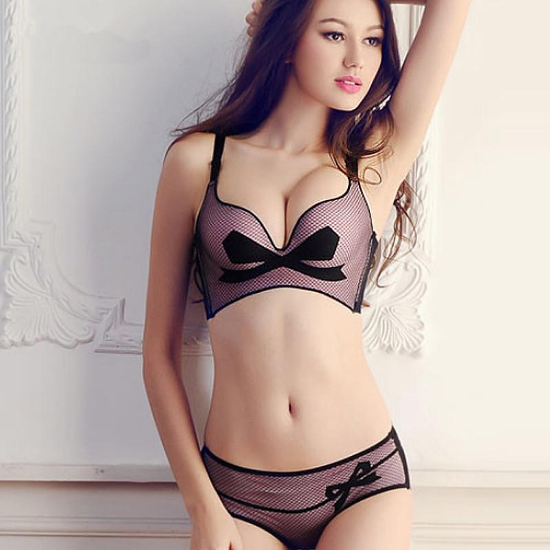 bb4747f257 2019 Pink Black Beige 2016 New Women Seamless Gathering Bra Set Bra+Panties  Convertible Straps Push Up Bra 1 2 Cup Wire Free Girl Underwear From ...