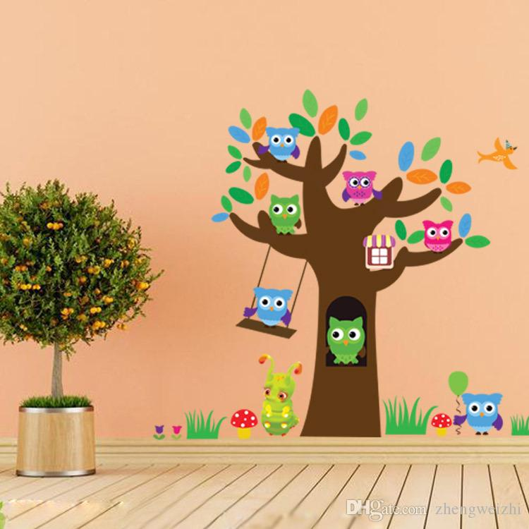 Cute Wise Owls Tree Wall Stickers For Kids Room Decorations Nursery Cartoon Children Decals Pvc Animal Wall Decal Diy Vinyl Clings Vinyl Decal Custom From