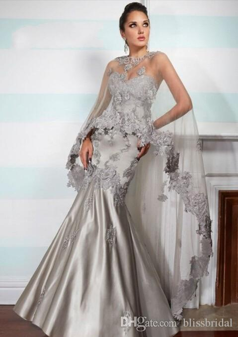 Custum -Made Cape Sweetheart Mermaid Satin Backless Full Length Evening Dress Crystal Prom Gown Style Shawl Mother of the Bride Dresses