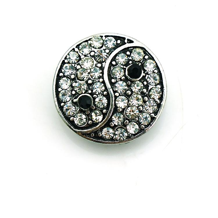 Fashion 18mm Snap Buttons Rhinestone Metal Bottom Clasps DIY Ginger Chunk Jewelry Accessories