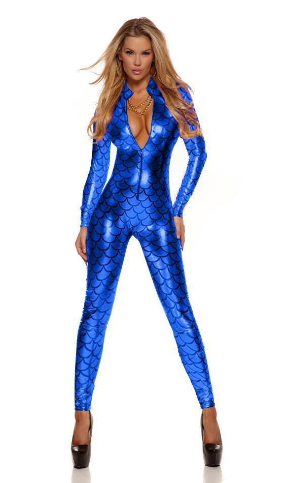 Ninimour Sexy Metallic Fish Scales Costume da sirena Fetish Body Blu catsuit Vinly Pelle Prezzo all'ingrosso 207995B