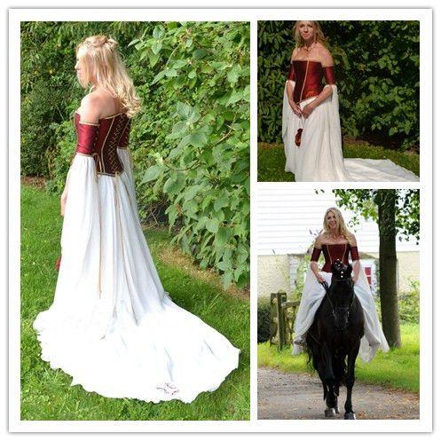Discount Renaissance Medieval Fantasy 2015 Wedding Dresses A Line