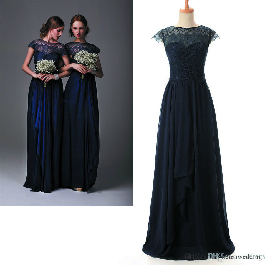 2015 chiffon junior bridesmaid dresses navy blue sheer lace cap see larger image ombrellifo Choice Image