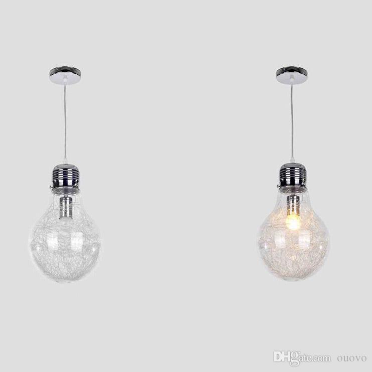 Élégant Big Bulb Salle À Manger Suspension Lampe Nouveau Moderne En Aluminium Fil À L'intérieur Boule En Verre Bar Compteur Pendentif Luminaire Restaurant Lampes