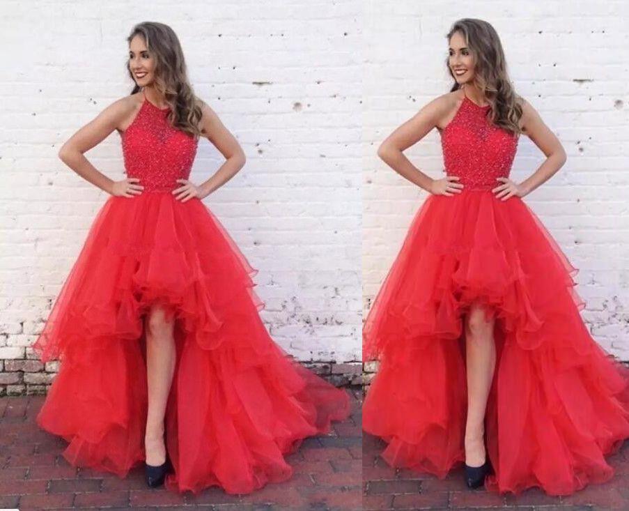 Beautiful Red Halter Neck Short Front Long Back Prom Dress Hi Low ...