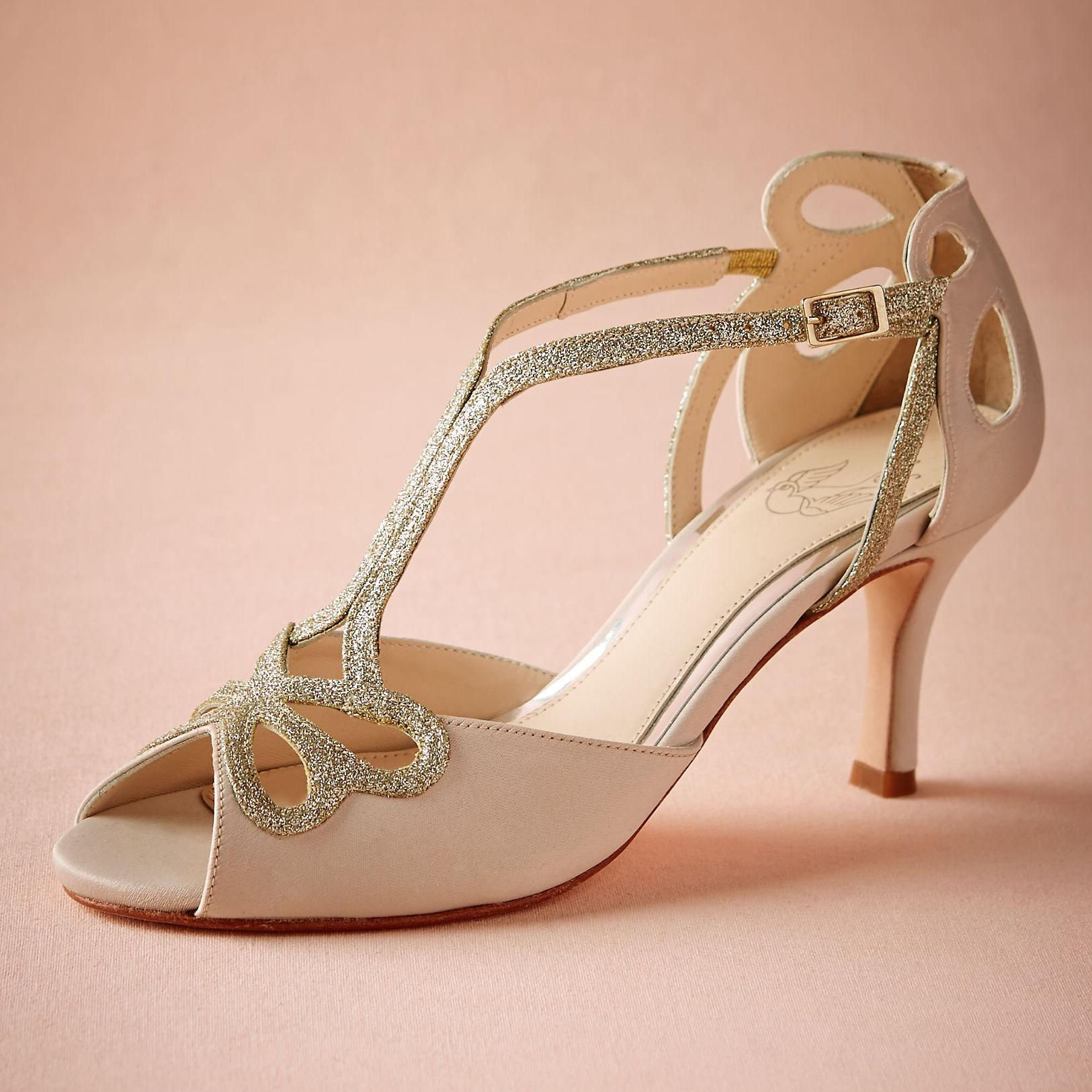 Blush Low Heel Wedding Shoes Hollow Out Peep Toe Bridal Sandals ...