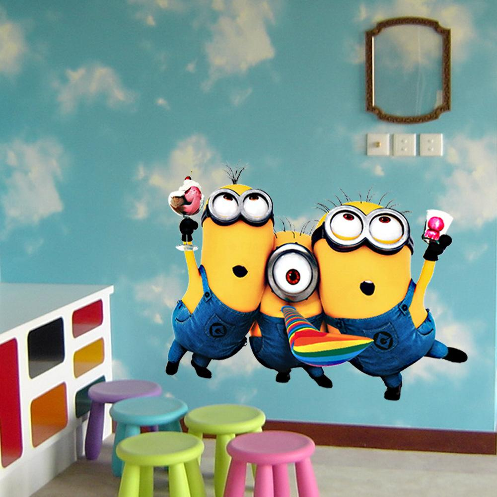 Cartoon small minions despicable me removable wall sticker diy cartoon small minions despicable me removable wall sticker diy kids child room decor decal home decoration stickers wallpaper wholesale amipublicfo Images