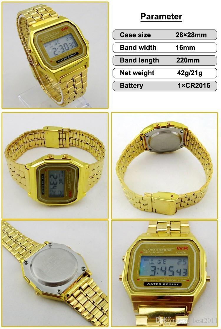 LED watches F-91W Gold and Silver Men Electronic Watch Digital Watch With LED BackLight Luxury Business Men Clock Adjustable Alloy Strap