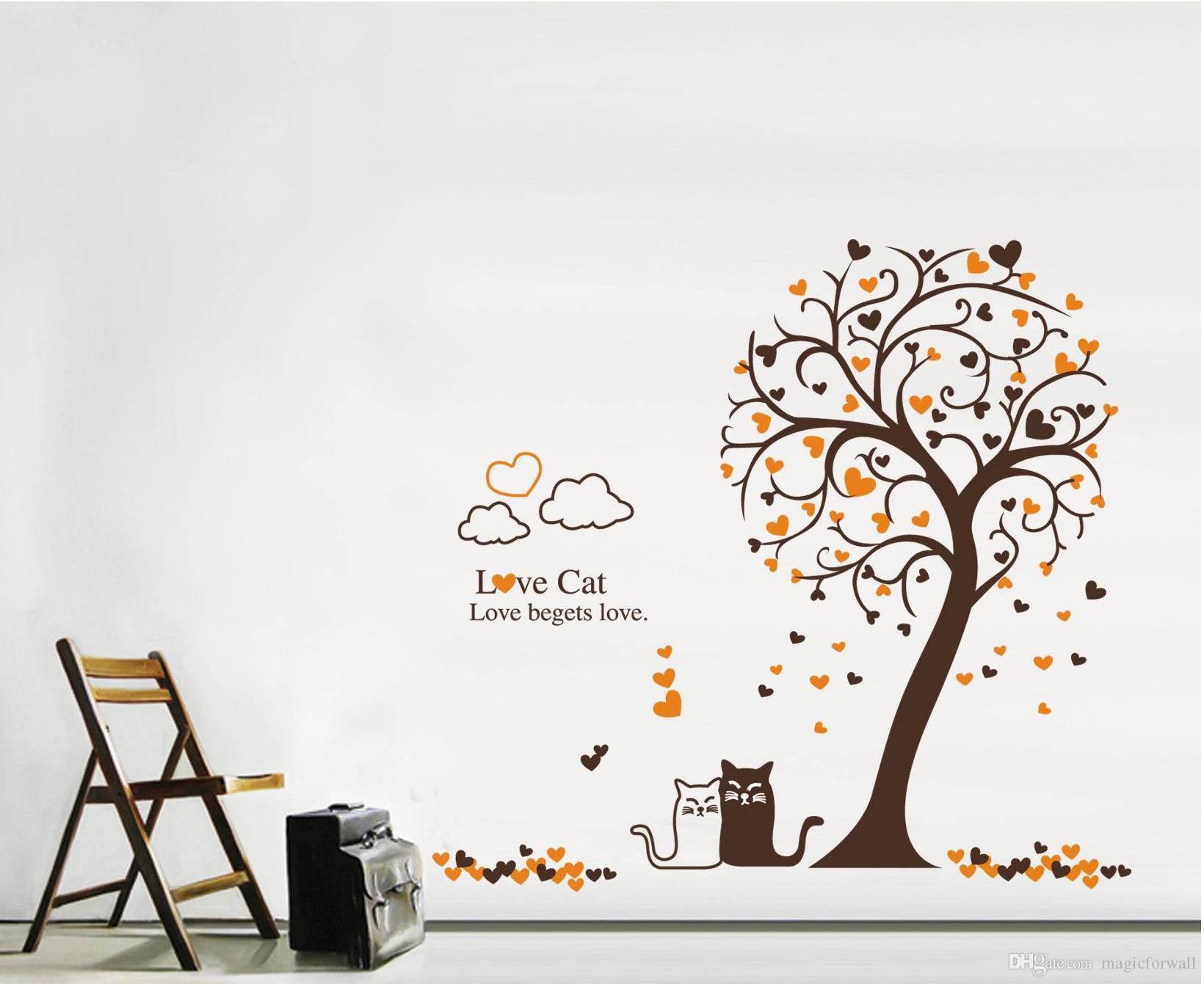 Cartoon Loving Cat under Tree Wall Art Mural Decor Removable PVC Art Decal Living Room Sofa Background Wallpaper Decoration