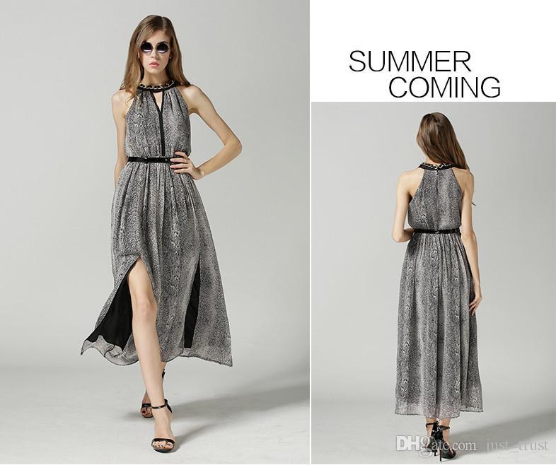 Summer Bohemia Beach Maxi Dress Halter Deep V-Collar Sexy Cocktail Dresses Printed Sleeveless Black Belt Slit Long Dress