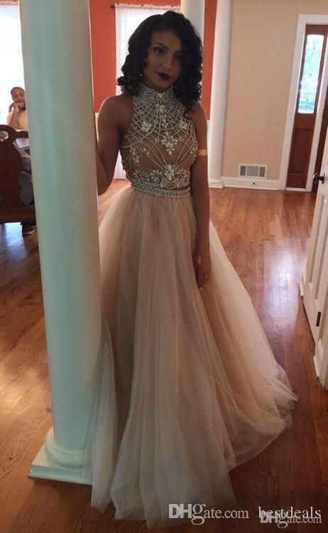 2017 Two Pieces Prom Dresses Champagne Sexy