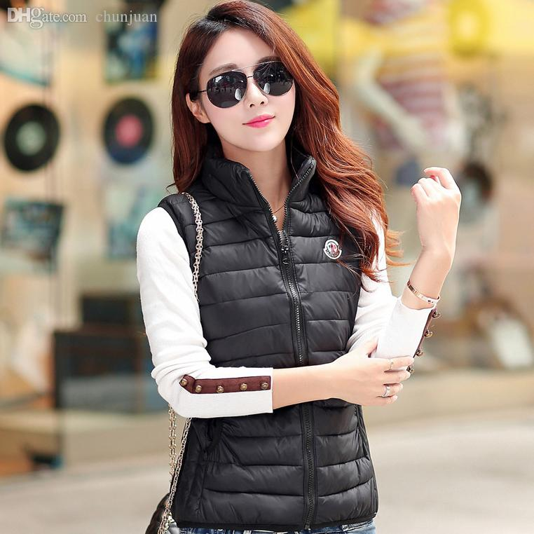 Wholesale Hot 2015 Cotton Down Vest Women Waistcoat Sleeveless