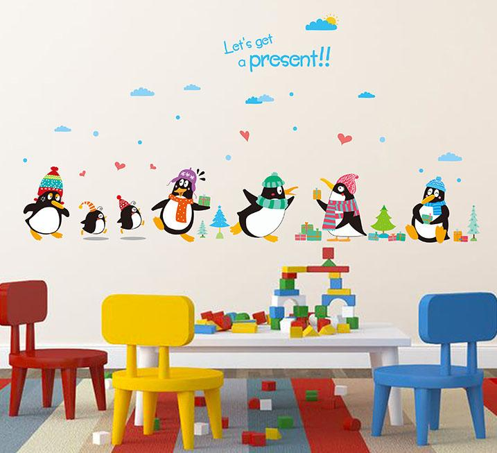 Penguin Present Wall Decal Sticker Kids Room Nursery Wall Art Mural Decor  Poster Penguin With Hat Wall Quote Applique Cute Penguin Art Sticker Wall  Art ... Part 81