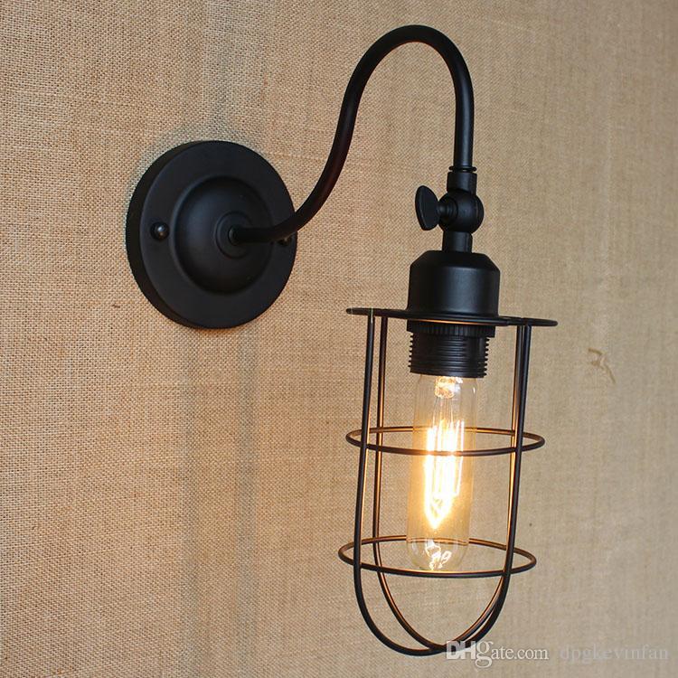 2018 Simple Black Iron Wall Lamp Retro Lantern Wall Lights High ...