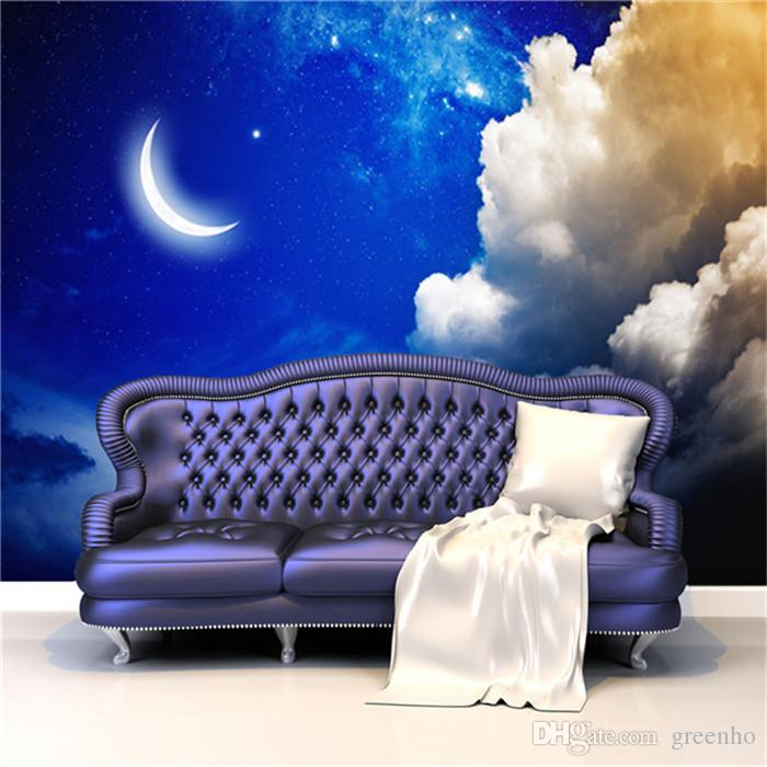 3d Wallpaper Mural Night Clouds Star Sky Wall Paper: 3D Large Size Charms Night Sky Art Mural Decal Wall