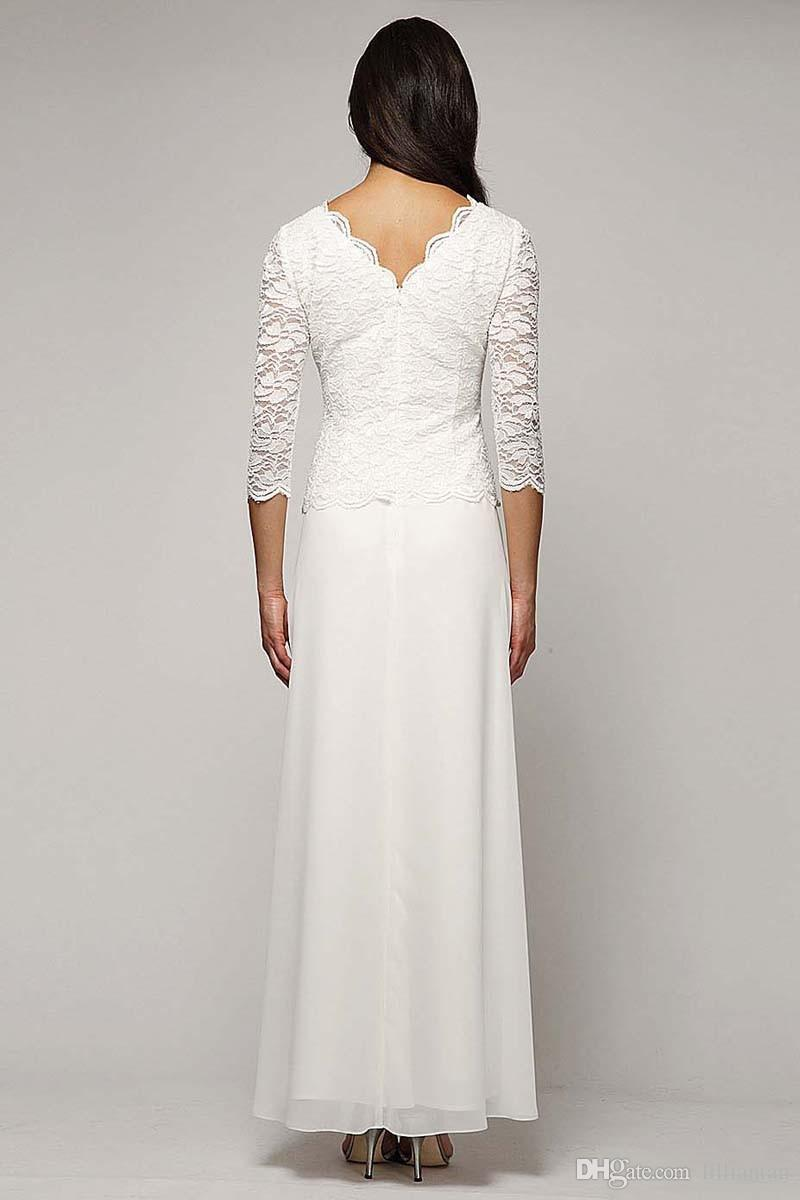 Elegant Chiffon Lace High Neck Mother Bride Dresses For Wedding Party Sexy Lace A-Line White Evening Dresses Gowns With Long Sleeves d148