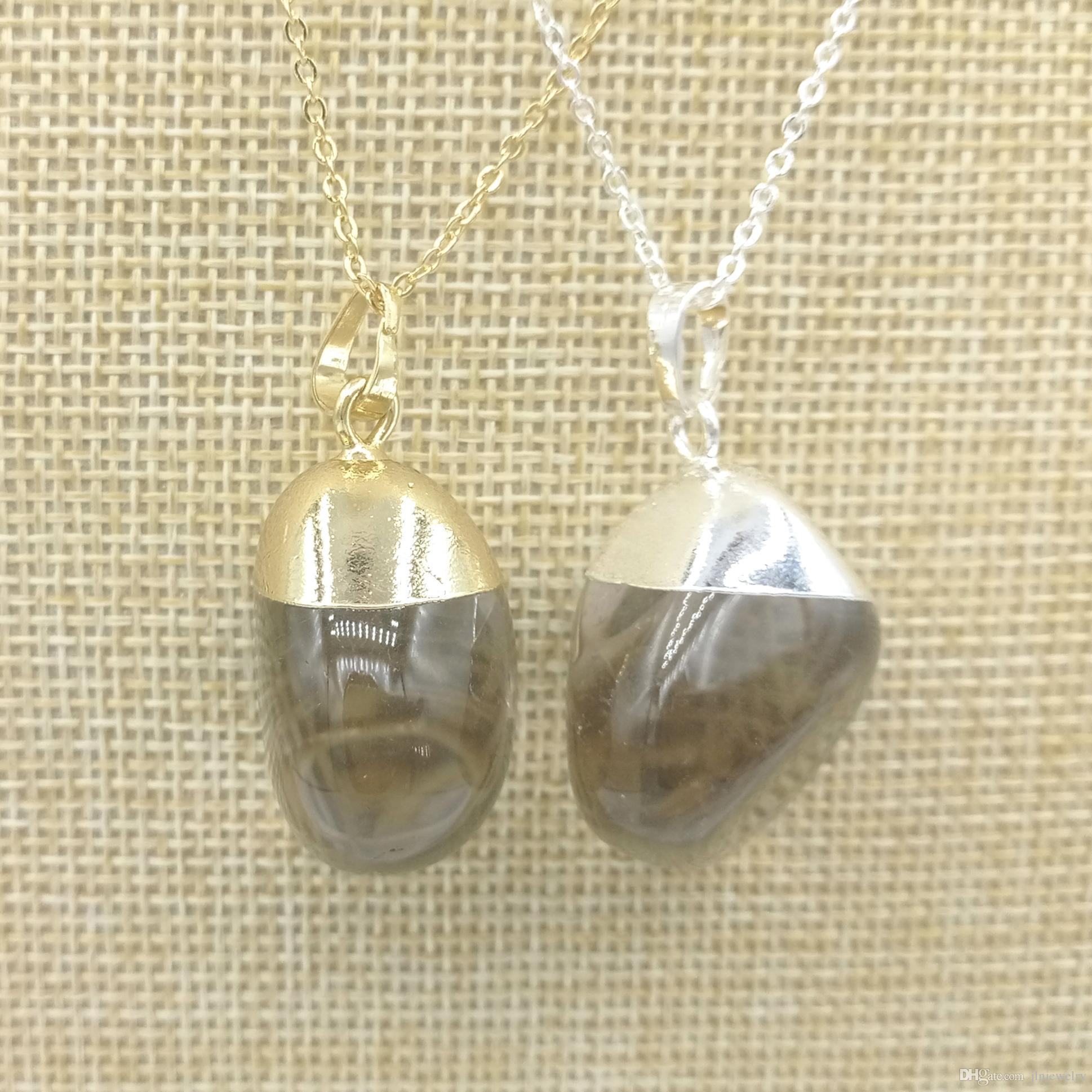 Jln Smoky Quartz Pendant Free Size Natural Stone Quartz Crystal Gold