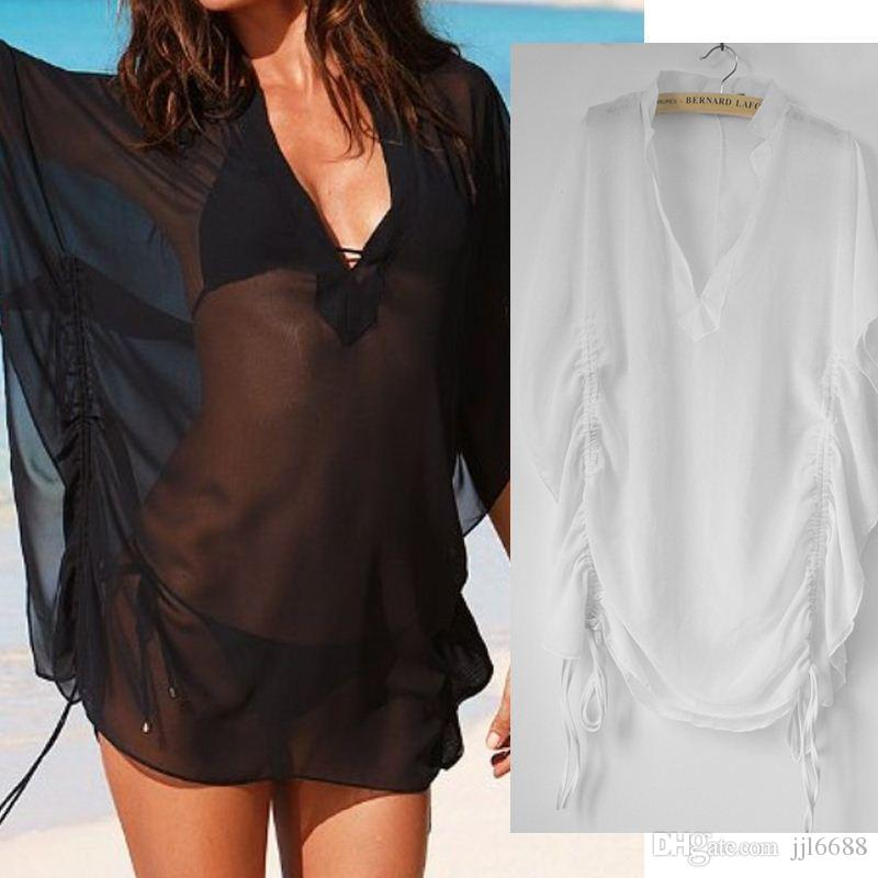 7e36faf491378 2019 2016 New Sexy Women Summer Dress Loose See Through Chiffon Bikini  Beach Cover Up Swimwear Black  White Plus Size Praia Cover Ups From  Jjl6688