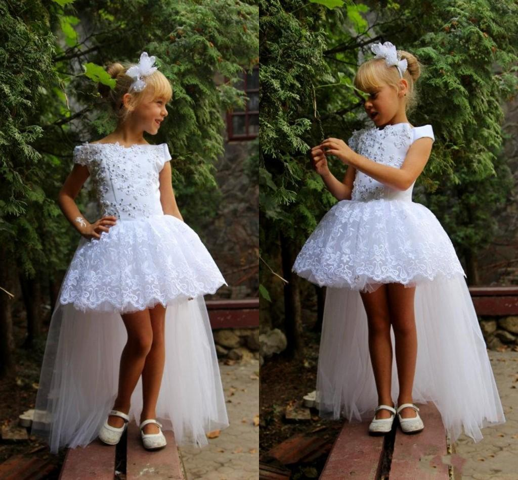 White Lace High Low Girls Pageant Dresses 2016 Off Shoulder Applique