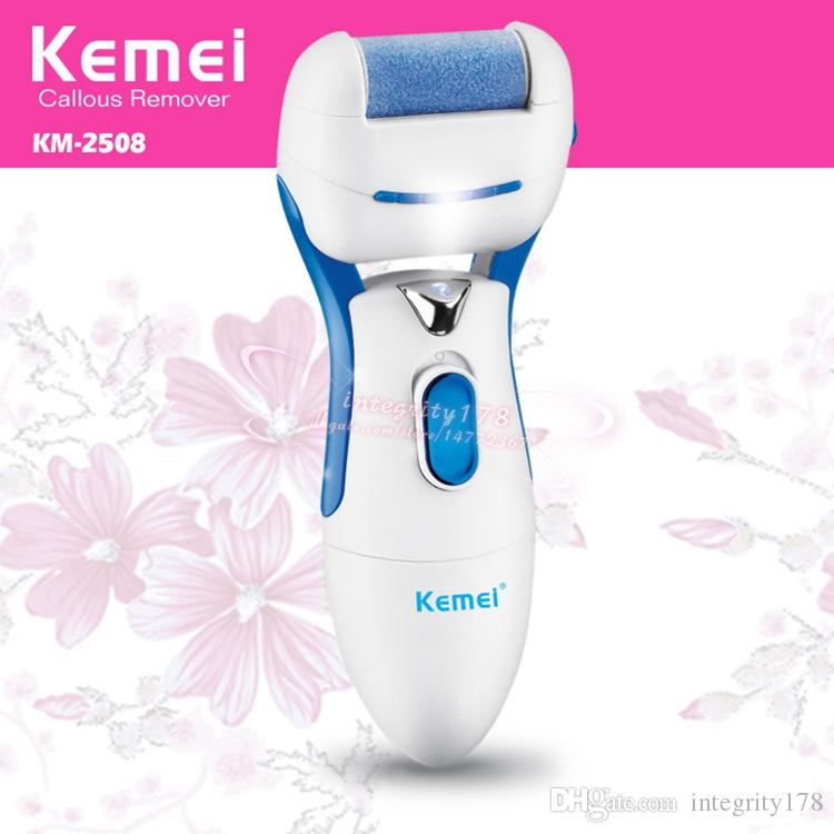 Kemei 2508 Callus Remover battery operated Electric Foot Exfoliator Feet Dead Skin Removal Heel Cuticles Nail Grinding Tool Set