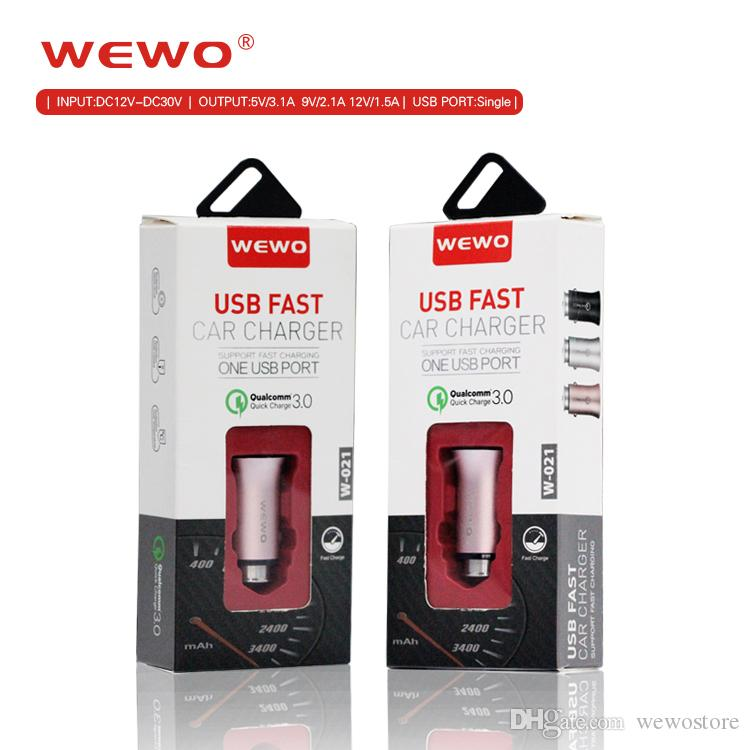 WEWO Quick charger 15W high-quality car chargers 3.1A original Qualcomm 3.0 fast and safe charging port For i Phone iOS/Android