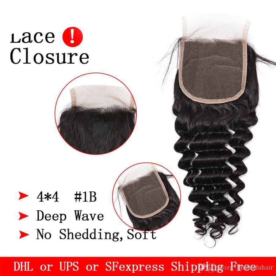 Brazilian Deep Wave With Closure Virgin Brazillian Hair 3 Bundles With Closure 7a Hair Company On Sale
