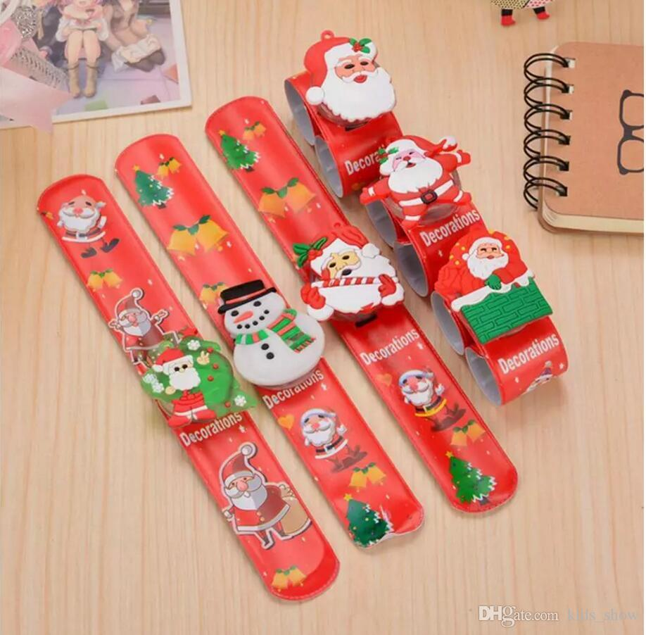 Hot Christmas Clap Pat Circle PVC Bracelet Ring LED Light Santa Claus Elk Hand Ring Glow Cartoon Bracelet 8 Styles