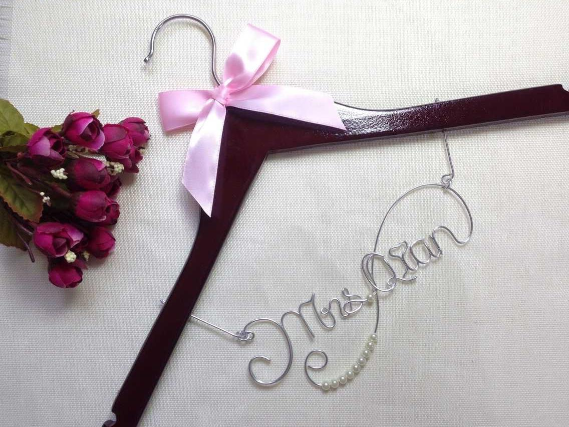Personalized Wedding Hanger With Ribbon,Wire Name Hanger Bridal ...