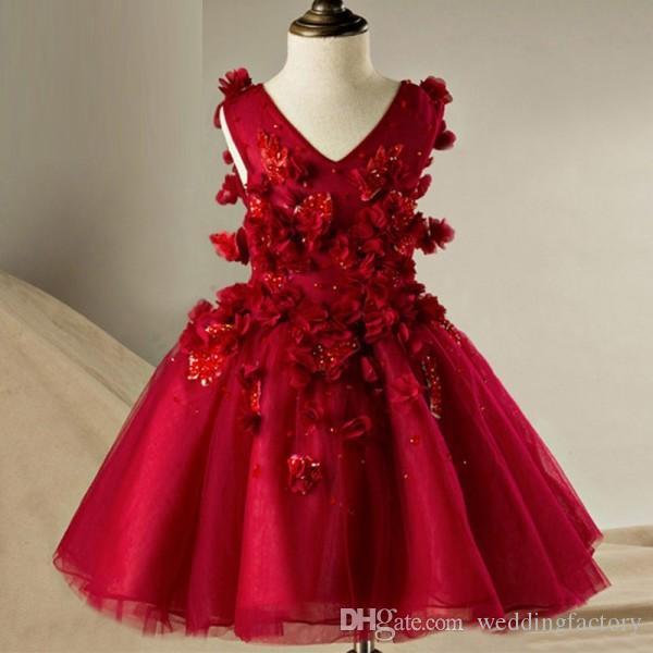 Dunkelrote rote Burgunder Girls Pageant Kleider für Teenager V-Neck Sleeveless 3D Blumenapplikationen Korsett Back Kids Kleid mit fließenden Bändern