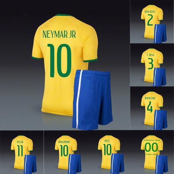 brazil 14 world cup soccer jerseys and short home yellow uniforms football kit neymar pele ronaldinh