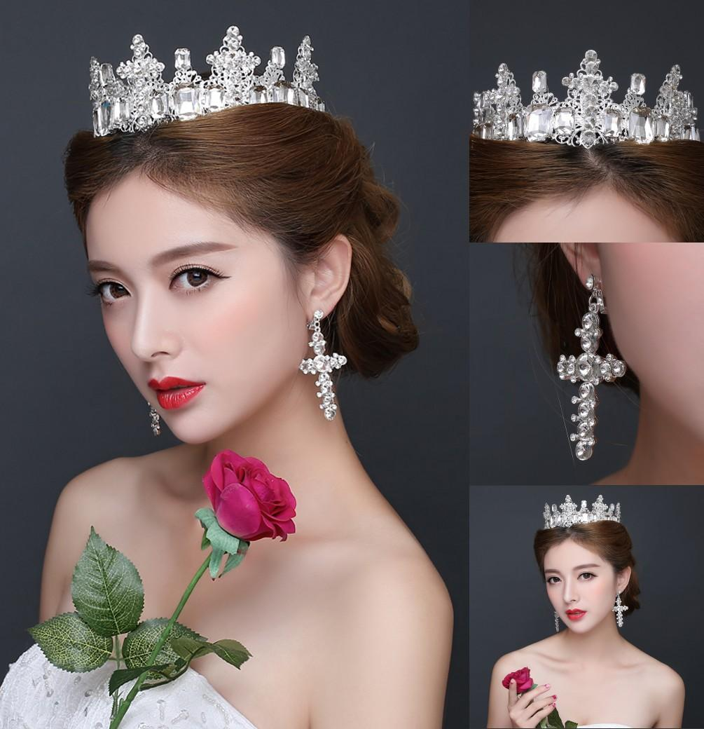 Luxury European Arabic Cheap Wedding Tiaras Crowns 2016 Princess Silver Crystal Jewelry Sets Earrings For Quinceanera Bridal Headpieces Comb Headbands