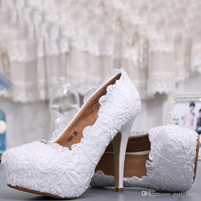 Fashion White Lace High Heel Wedding Bridal Shoes Bridesmaid Dress Shoes Elegant Party Embellished Prom Shoes Lady Dancing Shoes