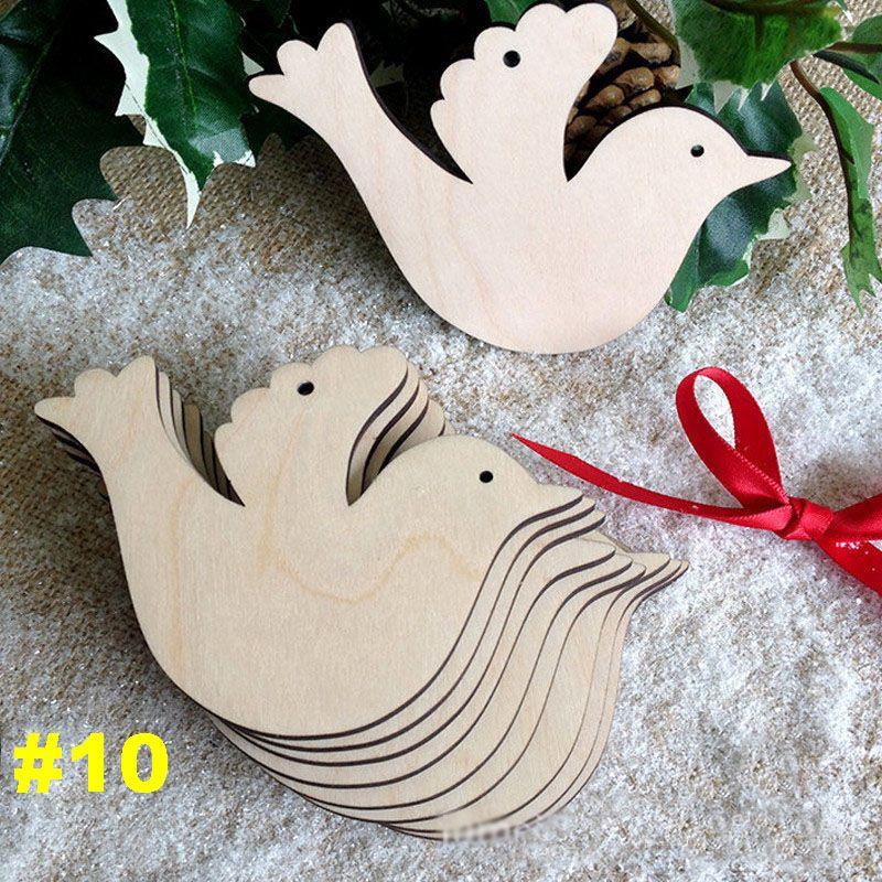 10 pezzi / lottp Ornamenti alberi di Natale Chip di legno Pupazzo di neve Albero Cervo Calzini Appesi Ciondolo Decorazione natalizia Regalo di Natale 10 stile WX9-123