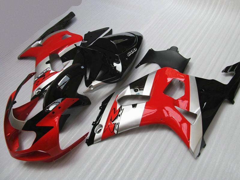 스즈키 용 GSXR 600750 페어링 GSX-R600 GSX-R750 2001 2002 2003 00 01 02 03 은색 빨간색 차체 부품 키트