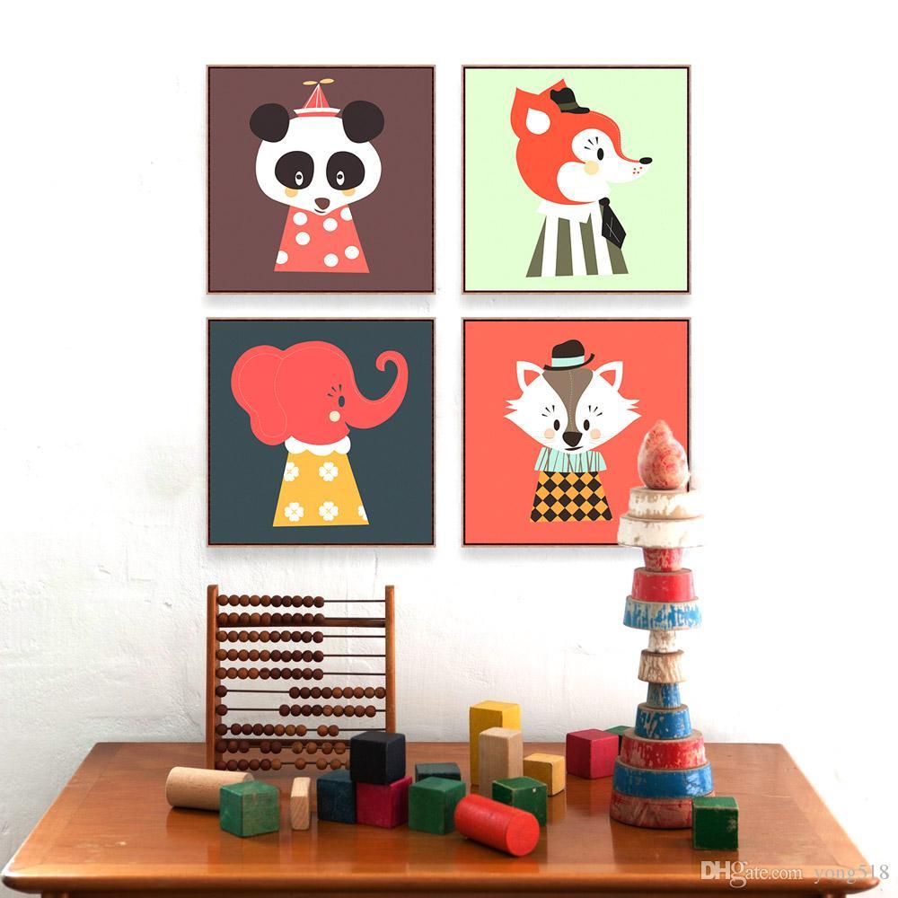 Satın Al Modern Kawaii Hayvan Kafası Kedi Panda A4 Büyük Sanat Baskı