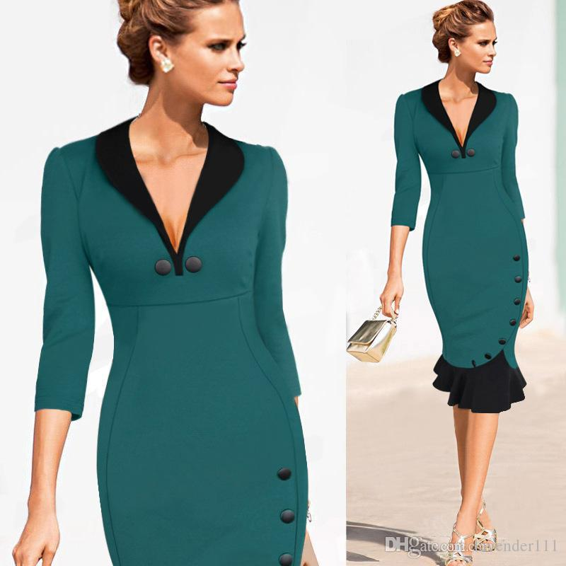 Women Deep V Vintage Pinup Elegant Patchwork Cotton Tunic Prom Work Business Party Cocktail Mermaid Bodycon Midi Dress WG5612