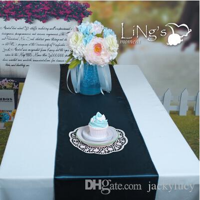 Good Quality Blue ink Fashion Satin Table Runners For Wedding Table Centerpieces Supplies 30*275 cm Free Shipping