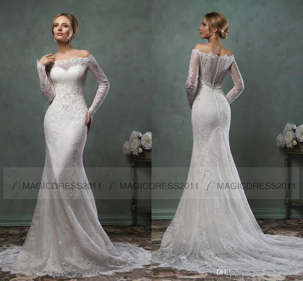 2015 luxury amelia sposa ivory sheer lace back wedding dress beach 2015 luxury amelia sposa ivory sheer lace back wedding dress beach bridal gown mermaid off shoulder long sleeve appliques sweep train different style ombrellifo Image collections