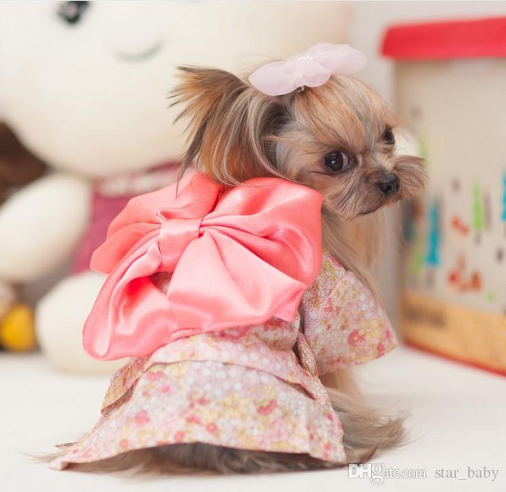Puppy Dog Pet Hoodie Kleidung japanischen Kimono große Bowknot Blume Hiyoku Hunde Doggy Doggie Katzen mit Kapuze Bekleidung Weihnachtsgeschenk rosa / schwarz K2413