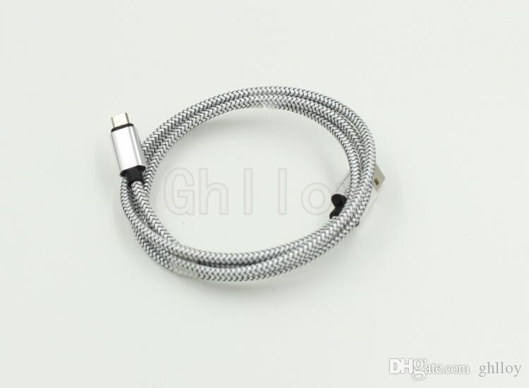 Fil de chargeur en acier en acier en acier en acier en acier en acier en acier en acier en acier en acier en acier en acier en acier métallique 1M fil de cordon coloré pour Samsung 100UP
