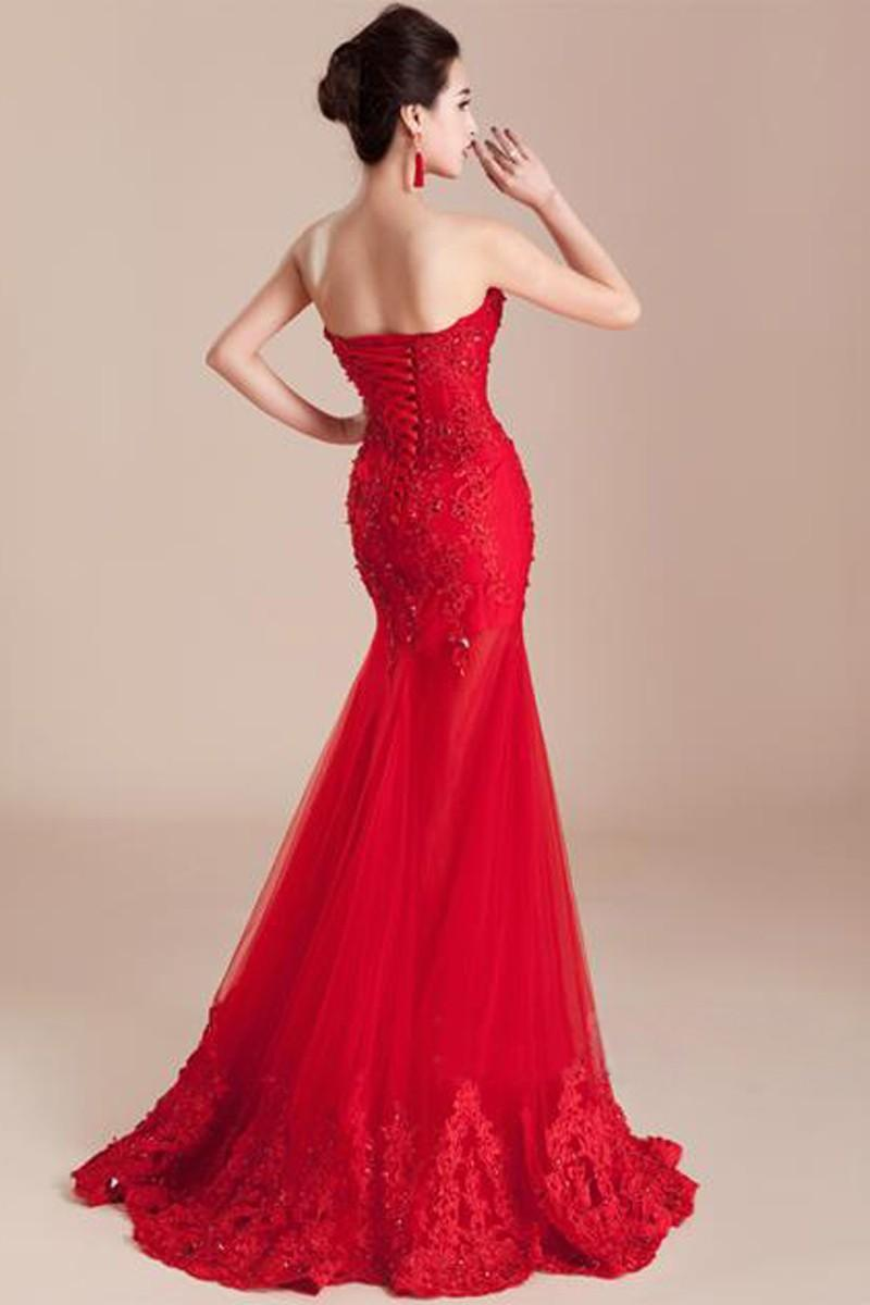 New Arrival Floor Length Scoop Beads Elegant Evening Prom Dresses Gowns Long Appliques Mermaid Red Evening Dresses 2018