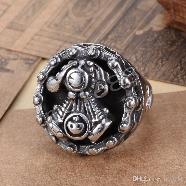 Mens 361L Stainless Steel Silver Motor Engine Cycle Chain Biker Band Ring Size 7-13