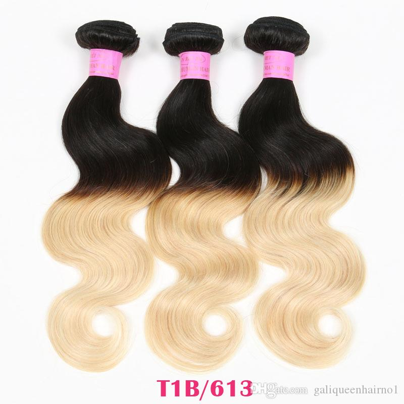 Cheap Ombre Hair Extensions Brazilian Body Wave Remy Human Virgin Hair Weave Two Tone Color 1B/27 1B/30 1B/99J 1B/Red 3 4