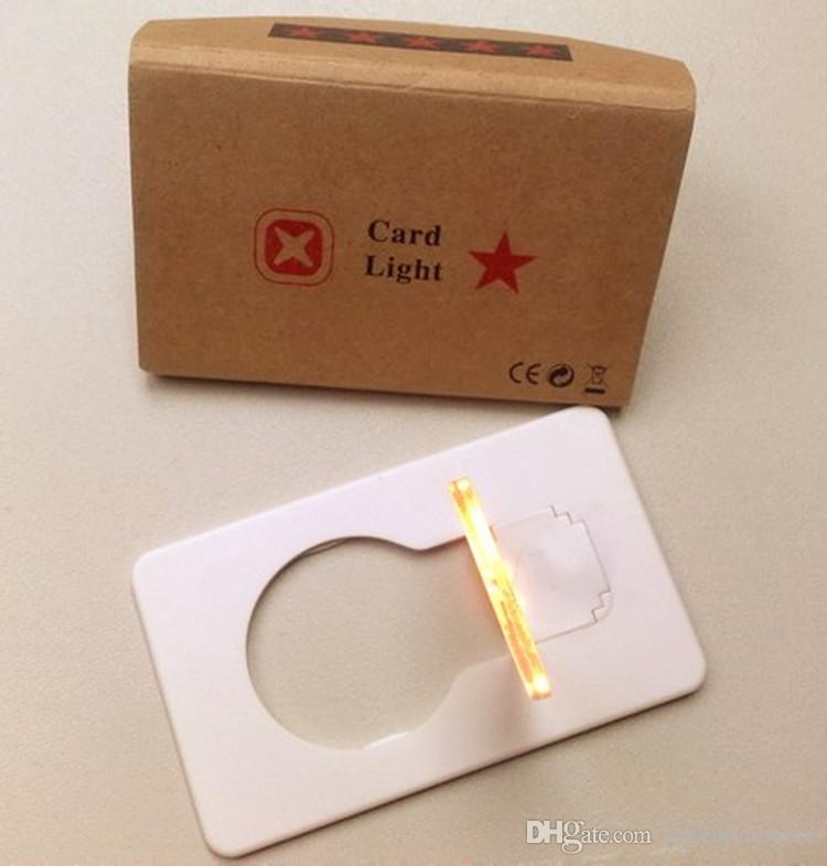 10 Pçs / lote Design Criativo Portátil Mini Lâmpada de Bolso Dobrável Colorido LEVOU Cartão de Luz Elegante LEVOU Cartão de Natal Luz como Presentes de iluminação